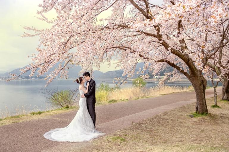 富士山河口湖櫻花婚紗 , 日本婚紗